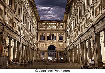tiro, noche, gallery., uffizi