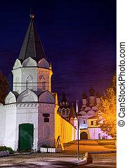 tiro, noche, monasterio, ruso