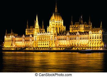 tiro, noche, parlamento, budapest