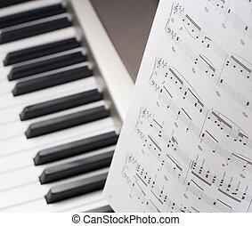 tiro, notas, isolado, estúdio, compositor, musical