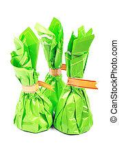 tiro, pacote, isolado, chocolate, doces, estúdio, experiência., verde branco