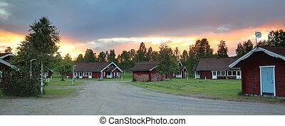 tiro panoramic, de, típico, sueco, cabanas, em, branaes, vaermland, com, um, grande, pôr do sol