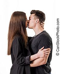 tiro, par romântico, estúdio, beijando, branca