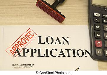 tiro, préstamo, aplicación, sello, era, aprobado