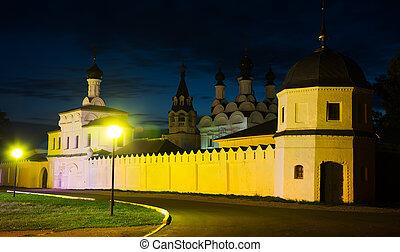tiro, ruso, monasterio, noche