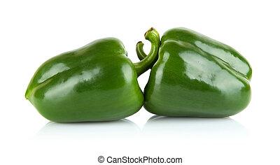 tiro, sino, isolado, dois, pimentas verdes, estúdio, branca