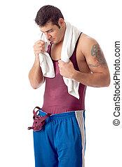 tiro, sobre, jovem, estúdio, adulto, macho, wrestler., white.