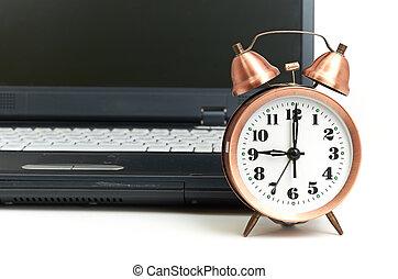 tiro, trabalho escritório, relação, tempo, conceitual, ...
