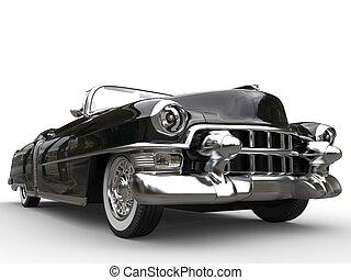 tiro, vendimia, -, primer plano, bajo, coche, negro, ángulo,...
