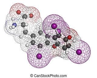 tiroides, structure., thyroxine, molécula, químico,...