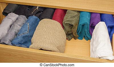 tiroir, chandails, trouser, ouvert, laine
