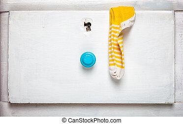 tiroir, concept., -, chaussettes, personne, crosse,...