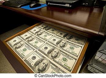 tiroir, entiers, de, argent