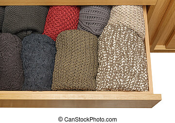 tiroir supérieur, well-organized, fond, vue, blanc, ouvert