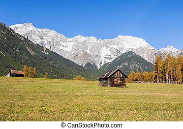 tirol, alpino, planalto, áustria, paisagem, mieming