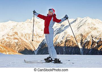 tirol;, donna, alps;, austria, solden;, otztal, sciare