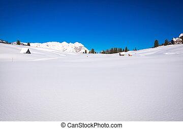 tirol, inverno, neve paisagem, lote, sul