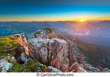 tirol, montanhas rochosas, raios sol, áustria, enquanto, pôr...