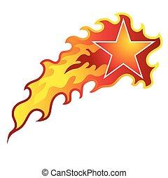 tiroteio, flamejante, estrela