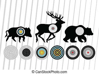 tiroteio, gama, javali selvagem, veado, e, urso, caça, alvos, silhuetas, ilustração, cobrança, fundo, vetorial
