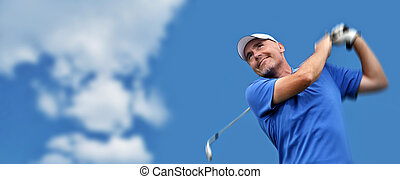 tiroteio, golfer, bola golfe