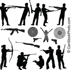 tiroteio, silueta, armas fogo, homem