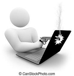 tiroteio, um, computador laptop