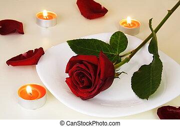 tisch, abendessensrahmen, romantische , kerzenschein