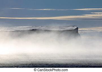 tisch, antarktisch, nebel, eisberg, morgen