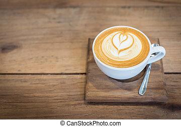 tisch., bohnenkaffee, kunst, heiß, latte