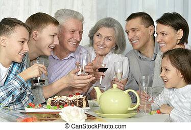 tisch, essende, familie, kueche