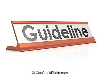 tisch, etikett, guideline