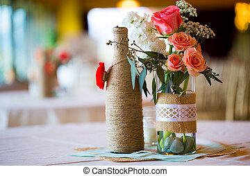 tisch, festempfang, mittelstücke, wedding
