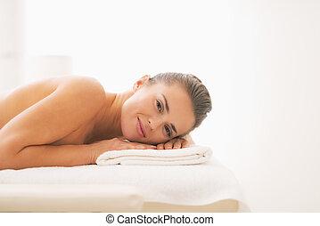 tisch, frau, liegende , junger, massage