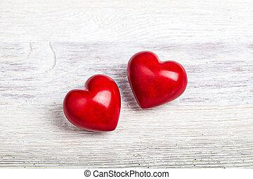 tisch, herzen, roter hintergrund, valentine