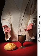 tisch, kommunion, jesus