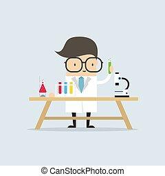 tisch, leiten, wissenschaftler, experiment.