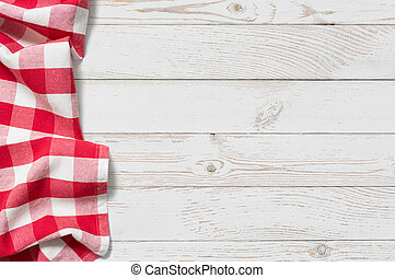 tisch, mit, rotes , picknick, tuch, draufsicht, hintergrund