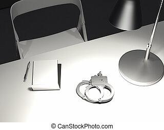 bürostuhlzeichnung tisch mit switchedon lampe handschellen und papier sessel frage antwort stock illustrationen 145