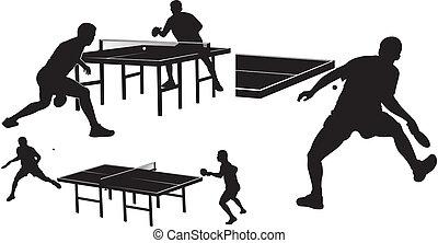 tisch, silhouetten, tennis, -
