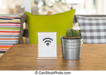 tisch, wifi, frei, zeichen