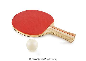 tischtennis schläger, und, kugel, freigestellt, weiß,...