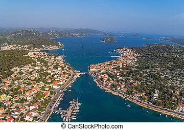 Tisno aerial - Adriatic tourist destination Tisno - island...
