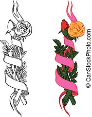 tissé, branches, roses
