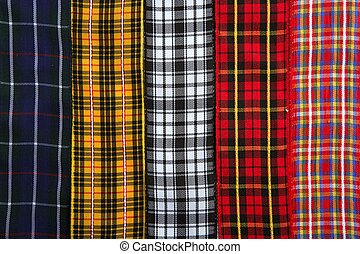 tissu, bandes, modèle, fond, écossais, tartan