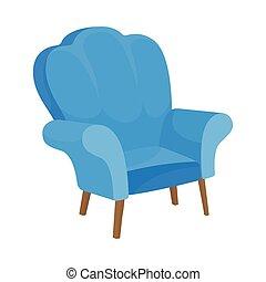 tissu bleu, fauteuil, dos, illustration, élevé, arrière-plan., vecteur, railing., blanc