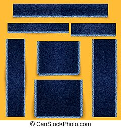 tissu bleu, set., fringe., texture, textured, bannières, jean