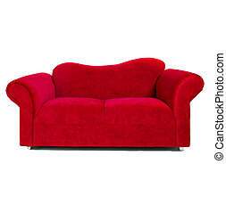 tissu, contemporain, rouges, sofa