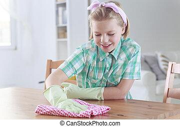 tissu, essuyer, nettoyage, girl, table