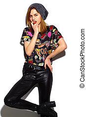tissu, look., hipster, lèvres, beanie, mode, fascination, beau, élevé, modèle, femme, rouges, élégant, jeune